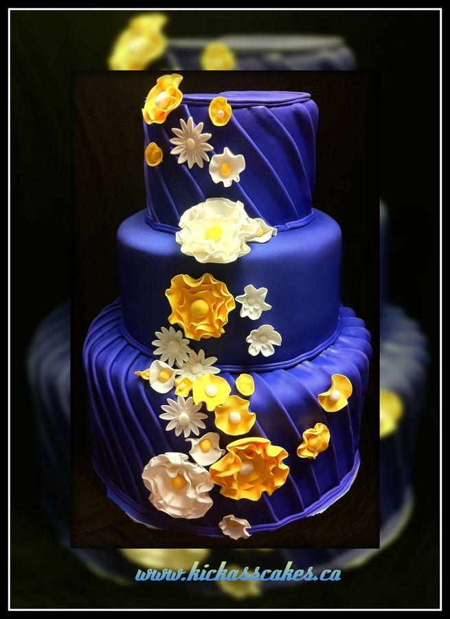 Royal Blue and Yellow Wedding cake