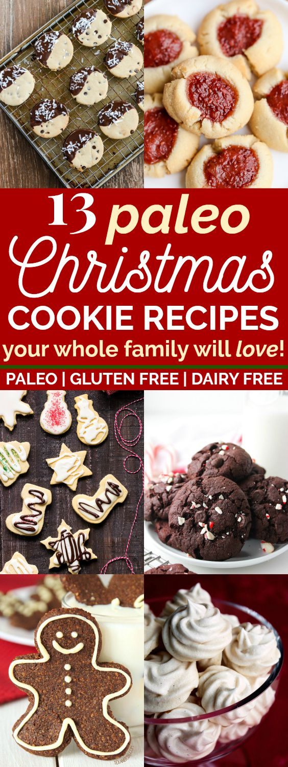 13 Clean Eating Christmas Cookie Recipes Your Whole Family Will Love | These paleo Christmas cookies look seriously AMAZING! I love that they're all gluten-free and dairy-free, with vegan recipes as well! I can't wait to try these healthier Christmas cookie recipes with my family this holiday season! #christmascookies #christmastime #christmasrecipes #paleo #glutenfree