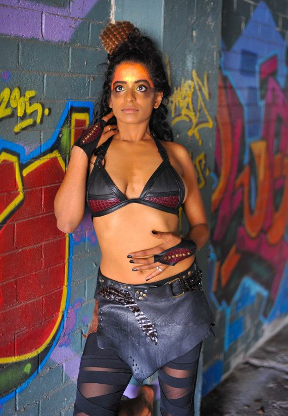 Black leather bra featuring blood red crocodile by Spunkhyde