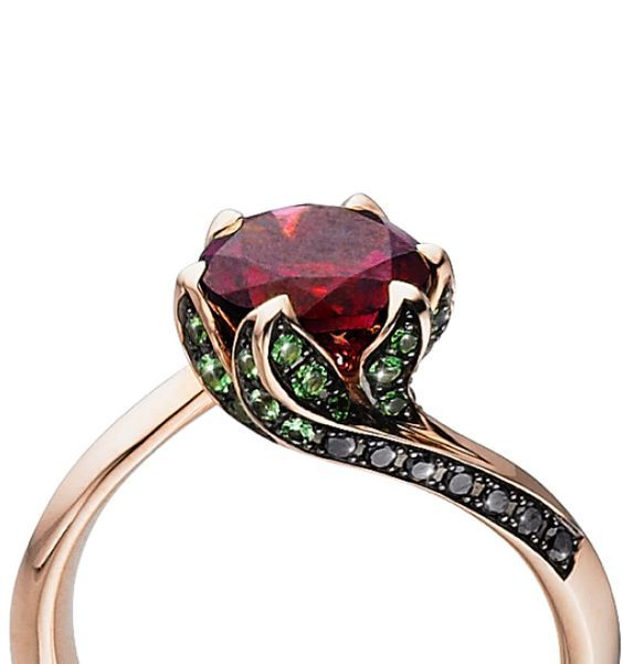 I want this with a garnet and tsavorite Tomasz Donocik Lilly pad ring 18K Yellow gold diamond Rubellite