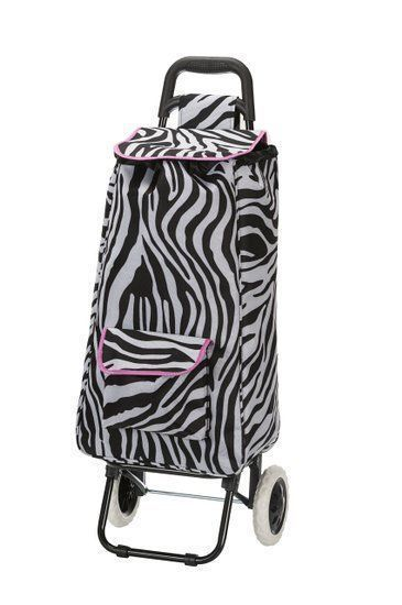 Rockland Rolling Shopping Bag Cart Tote Foldable Pink Zebra Print