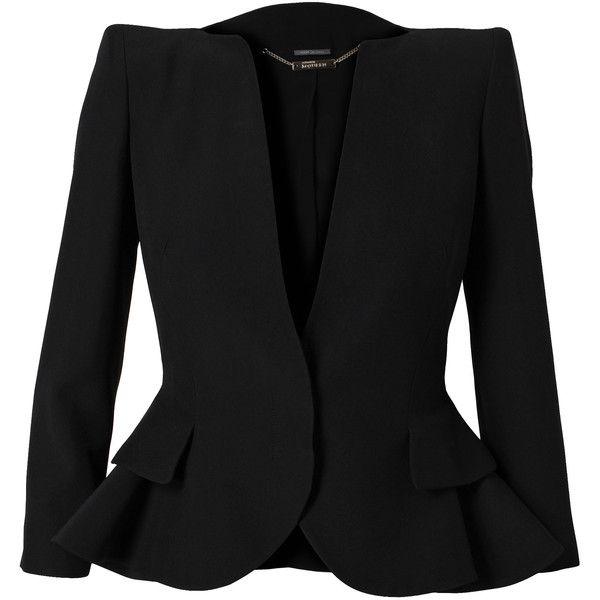 ALEXANDER MCQUEEN Tailored Peplum Jacket (£1,425) ❤ liked on Polyvore featuring outerwear, jackets, blazers, coats, tops, black, tailored jacket, tailored blazer, black long sleeve jacket and alexander mcqueen blazer