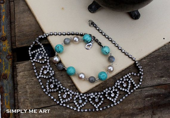 Vintage Rhinestone Turquoise and Pearl  Wrap Style by simplymeart, $68.00