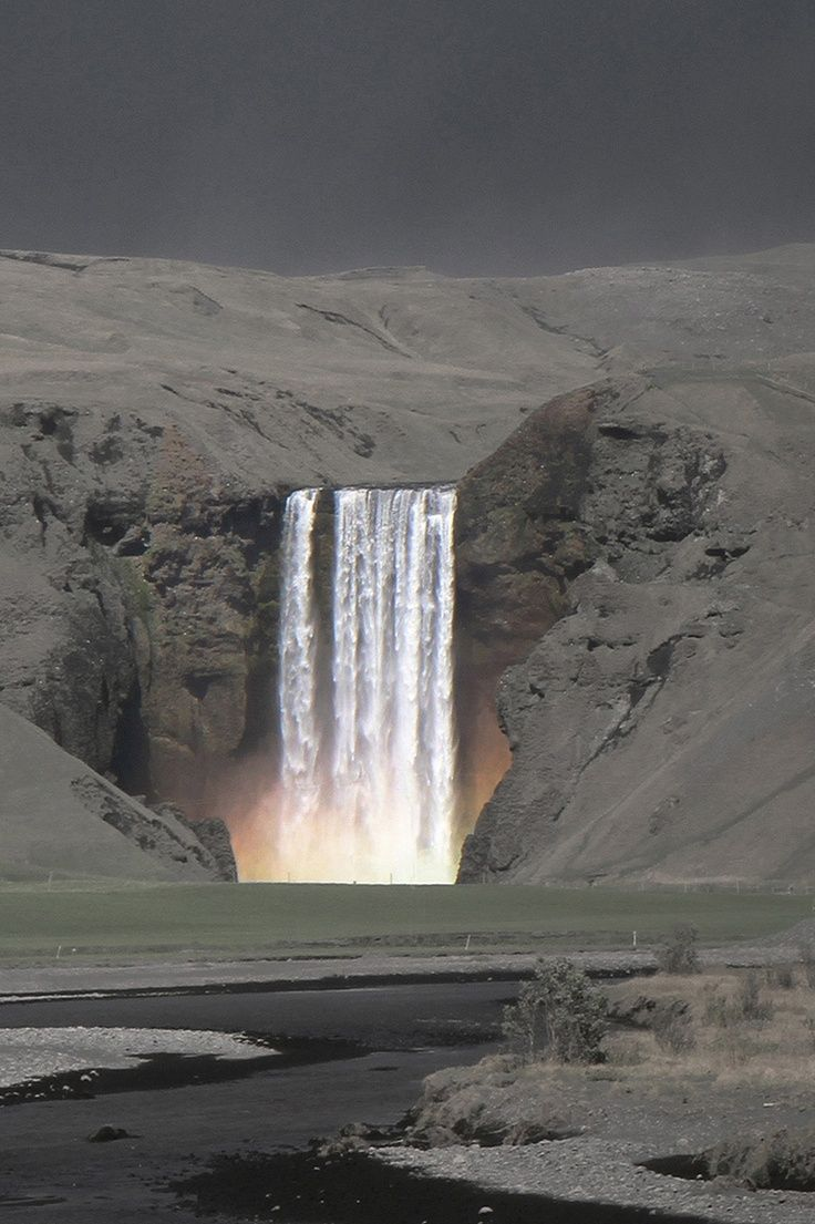 Skógafoss Waterfall - Iceland, during volcanic eruption