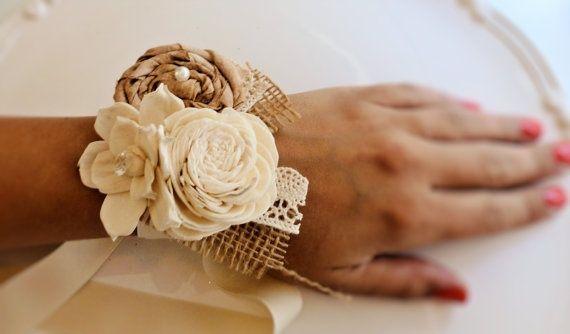 Burlap corsage   Rustic fabric flower corsage with burlap