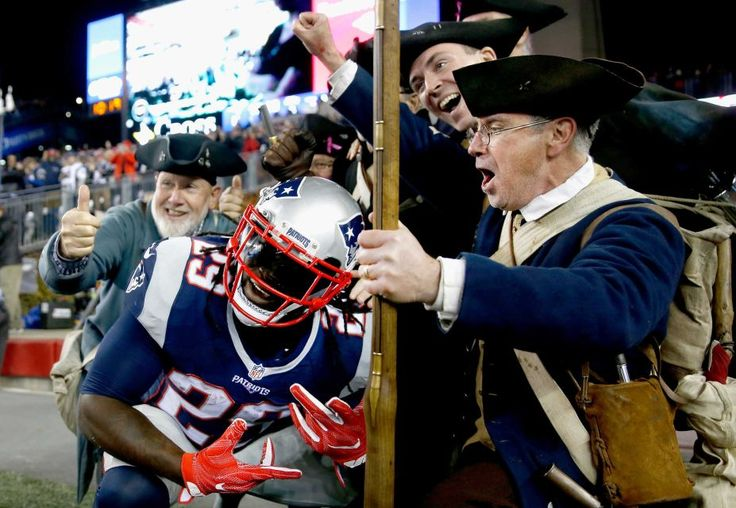 Seahawks vs. Patriots:  31-24, Seahawks  -  November 10, 2016  -   LeGarrette Blount of the New England Patriots reacts with members of the End Zone Militia after carrying the ball for a touchdown during the first quarter of a game against the Seattle Seahawks at Gillette Stadium on Nov. 13, 2016 in Foxboro, Mass.