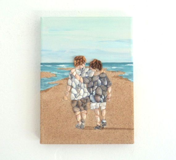 Acrylic Painting, Beach Artwork with Seashells and Sand, Best Buddies on Beach in Seashell Mosaic on Sand, Mosaic Art, 3D Art Collage, Home Decor, Wall Decor #ArtworkwithSeashells #mosaiccollage #seashellmosaic #homedecor #walldecor #3D