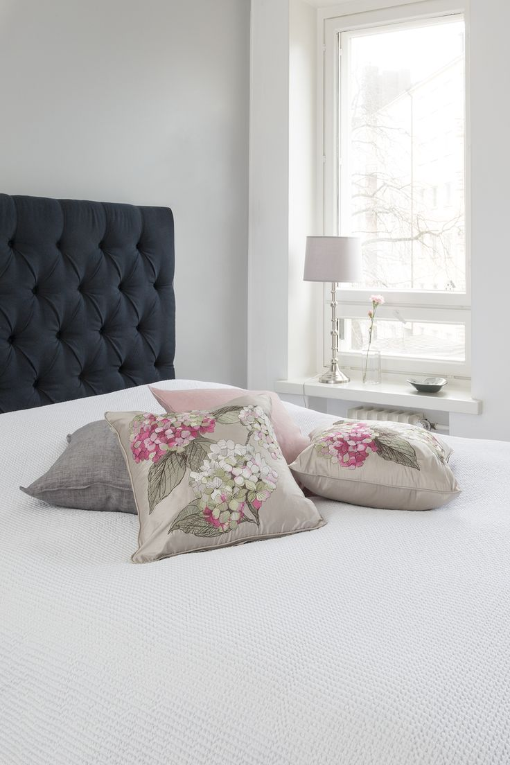 Hortensia Embroidered Silk Cushion Cover | Pentik | Designer Minna Niskakangas sketched the original drawing of hydrangea on plywood with pencil and pastel.