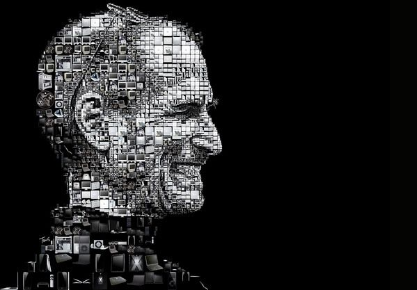 Steve Jobs portrait made out of Apple products.