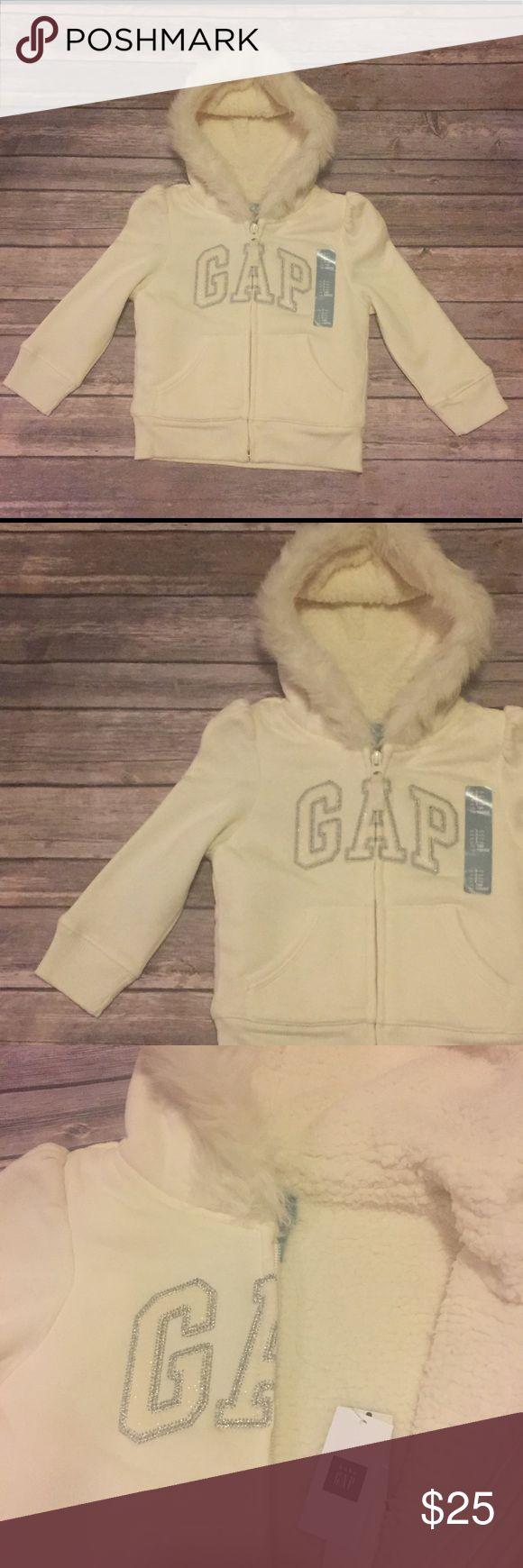 NWT Baby Gap Hoodie, 3T NWT Baby Gap Outlet Hoodie, 3T, adorable white, hooded, Sherpa lined sweatshirt, zips closes.  Faux fur around hood, gathers at top of sleeves.  😍😍😍 GAP Shirts & Tops Sweatshirts & Hoodies