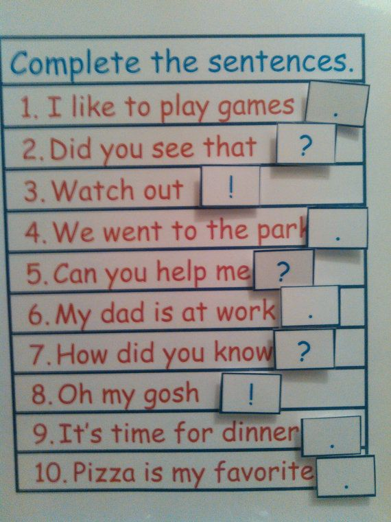 Punctuation Marks For Kids Sentence by KidsLearningTools on Etsy
