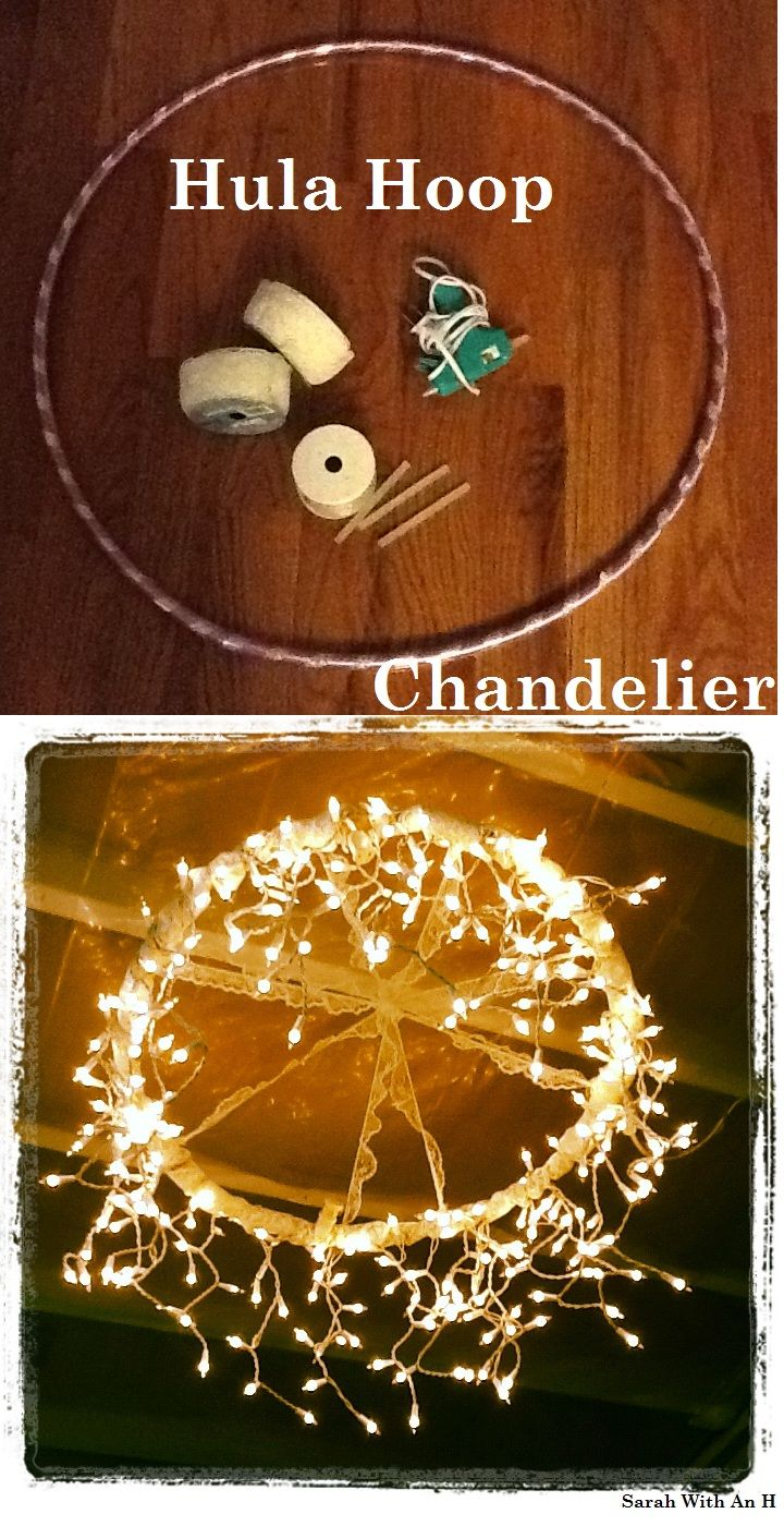Hula Hoop Chandelier...cute DIY idea for an outdoor porch: Diy Ideas, Dollar Stores, Diy Chandelier, Christmas Lights, Hulahoop, Outdoor Parties, Back Porches, Hula Hoop Chandeliers, Outside Lights