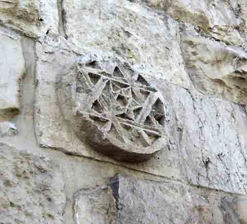 Estrella de David en la pared de la ciudad vieja de Jerusalén, Israel.