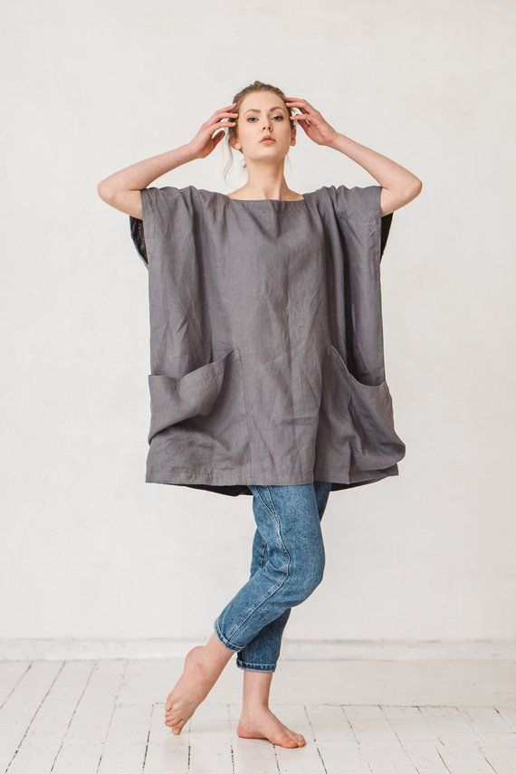 Oversized dark platinum grey linen tunic Linen tunic with two