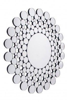 Lustro Alessa    Okrągłe eleganckie lustro dekoracyjne w ażurowej ramie. Rama jest wyklejona fazowanymi krążkami lustra w różnych rozmiarach. Lustro pasuje do nowoczesnych wnętrz.