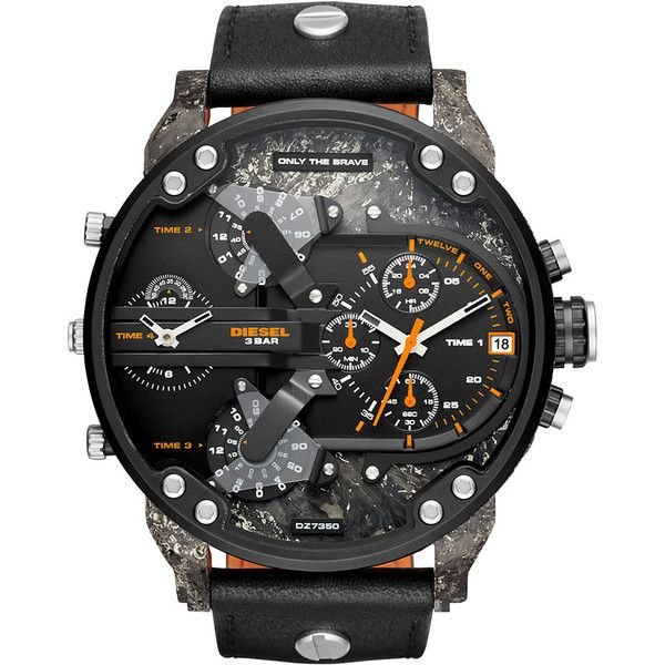 Diesel DZ7407 Timeframes ($395) ❤ liked on Polyvore featuring men's fashion, men's jewelry, men's watches, black, men, timeframes, watches, blue dial mens watches, mens chronograph watches and mens watches jewelry