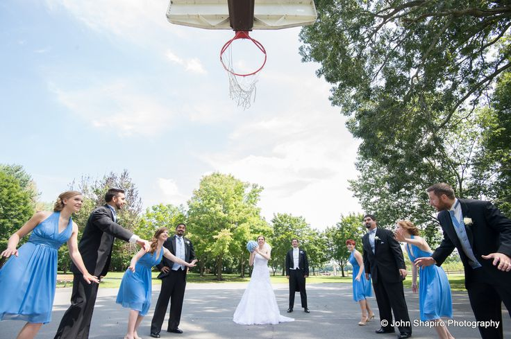 This is adorable! The wedding party took a break from posing to play a quick game of basketball. Though it definitely made for great photos too! www.WindsorBallroom.com. Photo courtesy of John Shapiro Photography. #NJweddings #wedding #weddingflowers #bouquet #EastWindsor #WindsorBallroom #NJbanquethall #Banquethall #nj #bride #groom #love #marriage #weddingreception