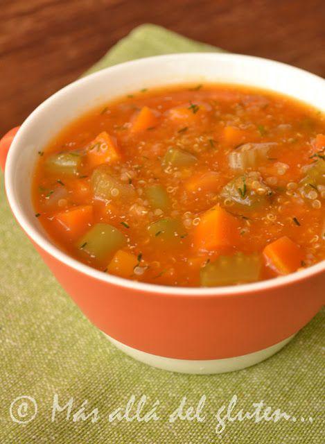 Más allá del gluten...: Sopa de Verduras y Quinua (Receta GFCFSF, Vegana)