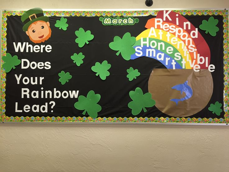 personalizing a march bulletin board for our school