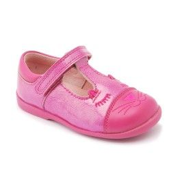 Hot Pink Leather/Patent Girls First Walking shoes