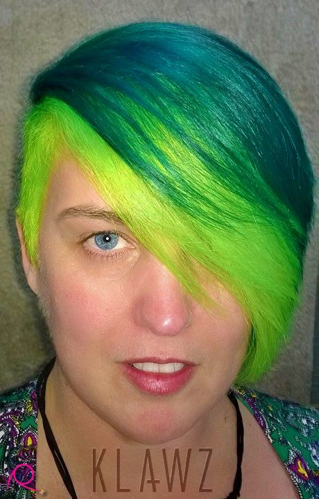 Funky Coloured Hair - Teal Green & Fluorescent Green  (Enchanted Forest & Electric Lizard)   (yes, the fluro glows under blacklight :D)