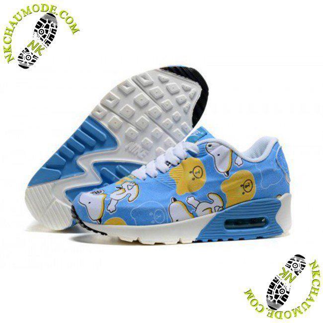 chaussures nike pour enfants Air Max 90 Snoopy Bleu Blanc