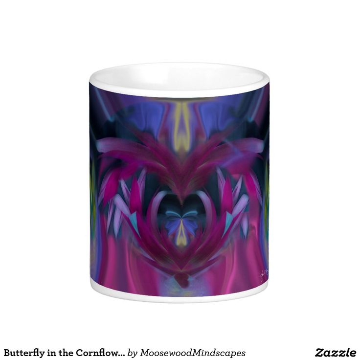 Butterfly in the Cornflowers No 3 Poster Classic White Coffee Mug