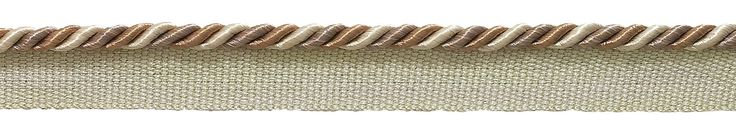 """12 Yard Value Pack of Small Beige Multi Tone Baroque Collection 3/16"""" Cord with Lip Style# 0316BL Color: SANDSTONE - 7245 (36 Ft / 11 Meters)"""