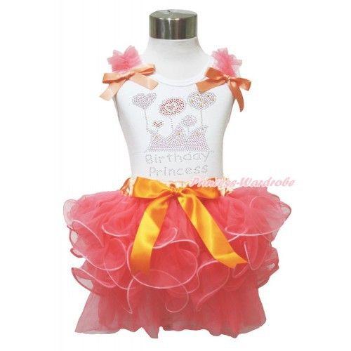 "koraal petal pettiskirt + witte top ""Birthday princess"""