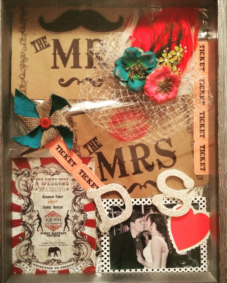 DIY wedding shadow box. Include veil, boutonnière