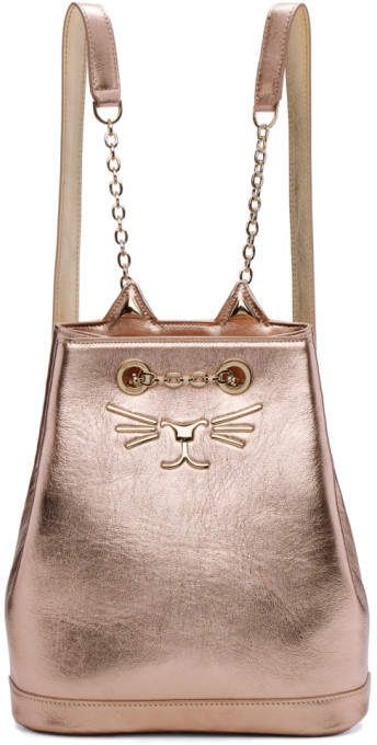 e6619f47efc5 Charlotte Olympia Pink Metallic Petit Feline Backpack