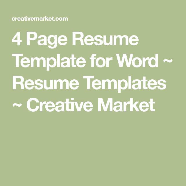 25 4 page resume template for word resume templates creative market yelopaper Images