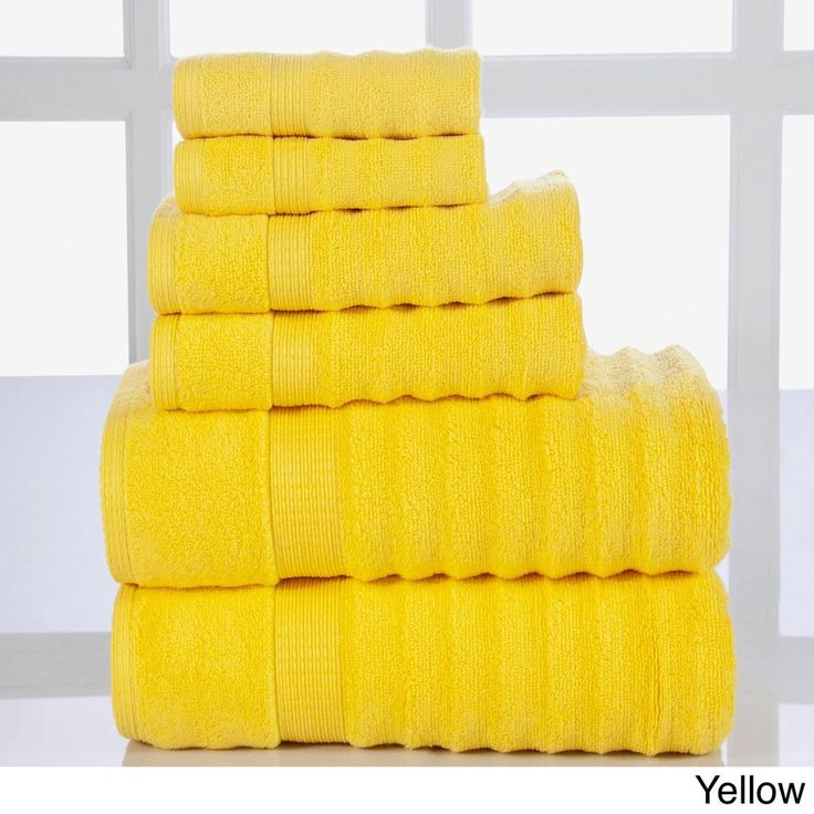 Yellow 6 Piece Towel Set Bath Hand Washcloth Cotton Free Shipping