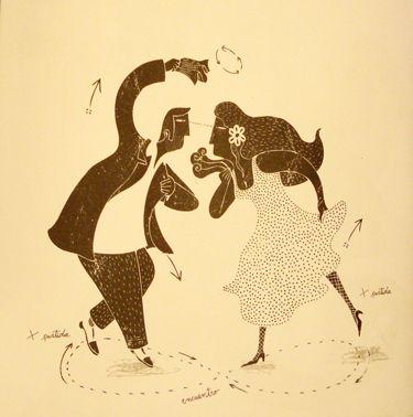 """Ilustración de Alberto Montt inspirada en la Lira Popular Chilena para el libro """"Piernal de Cueca Chora"""""""