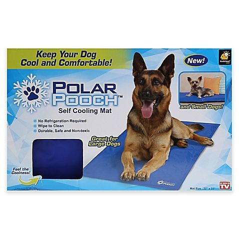 The As Seen on TV Polar Pooch Self Cooling Mat for Dogs is a convenient way to cool off your dog anytime. The gel core of this self-cooling mat requires no refrigeration to provide cooling. After 15 minutes of non use it is ready to cool again for hours.