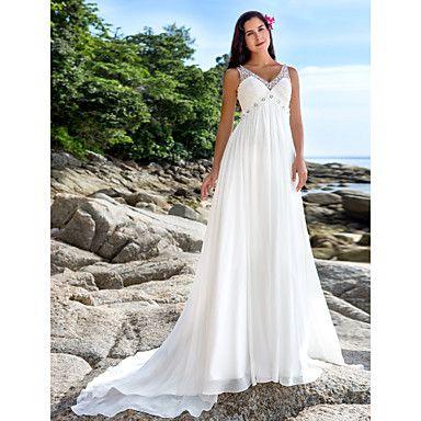 Lan Ting Sheath/Column Plus Sizes Wedding Dress - Ivory Chapel Train V-neck Chiffon – USD $ 159.99