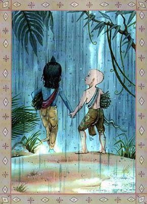 Krishna and Sudama. Best friends! #Krishna #Krsna #hindu #art