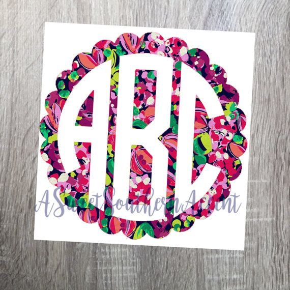 Lily Pulitzer inspired frame monogram Decal for car, laptop, cup, cell phone, Samsung, iphone, notebook, tumbler, boots, mailbox +!