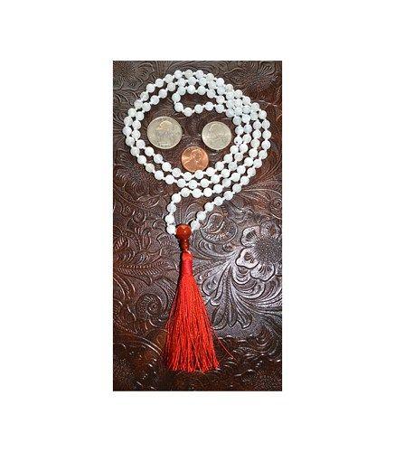 108 Moonstone Carnelian Hand Knotted Mala Beads Necklace-Blessed Karma Nirvana Meditation 6 mm Prayer Beads For Awakening Chakra Kundalini