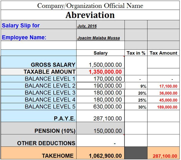 Tanzania PAYE and Pension Salary Calculation Sample 2016-17