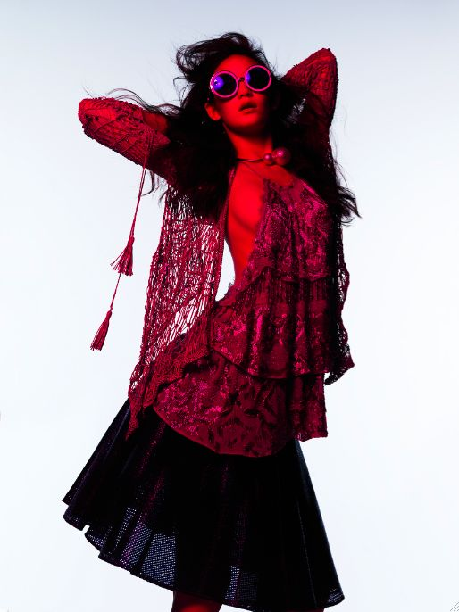 Blue and red Mona Matsuoka outtake bazaar