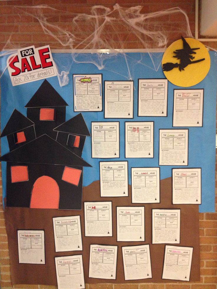 Haunted house for sale! Students used adjectives to write a for sale ad to sell their haunted houses! A great way to incorporate writing into the holiday!