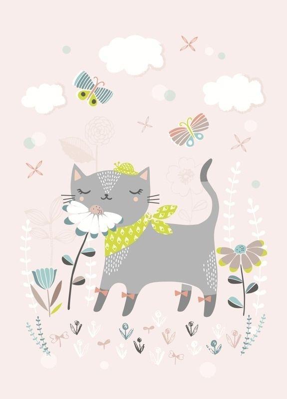 Poster Cat pastel roze A4