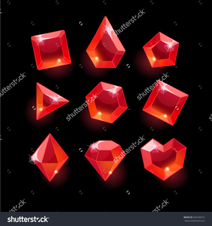Set of cartoon red different shapes crystals,gemstones,gems,diamonds vector gui assets collection for game design.isolated vector elements.Gui elements, vector games assets.menu for mobile games