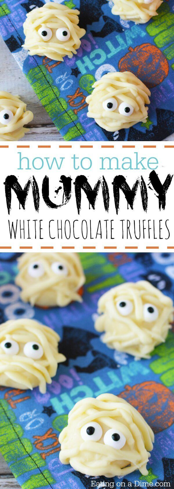 Try this Mummy White Chocolate Truffles Recipe.You will be the hit of the Halloween party with these Mummy White Chocolate Truffles.They are so quick & easy