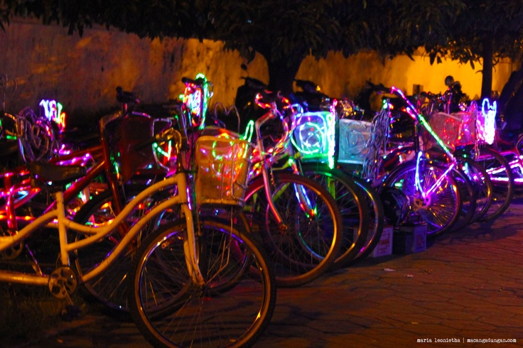 Bicycles with neon lights. Rented on Alun-Alun Yogya.