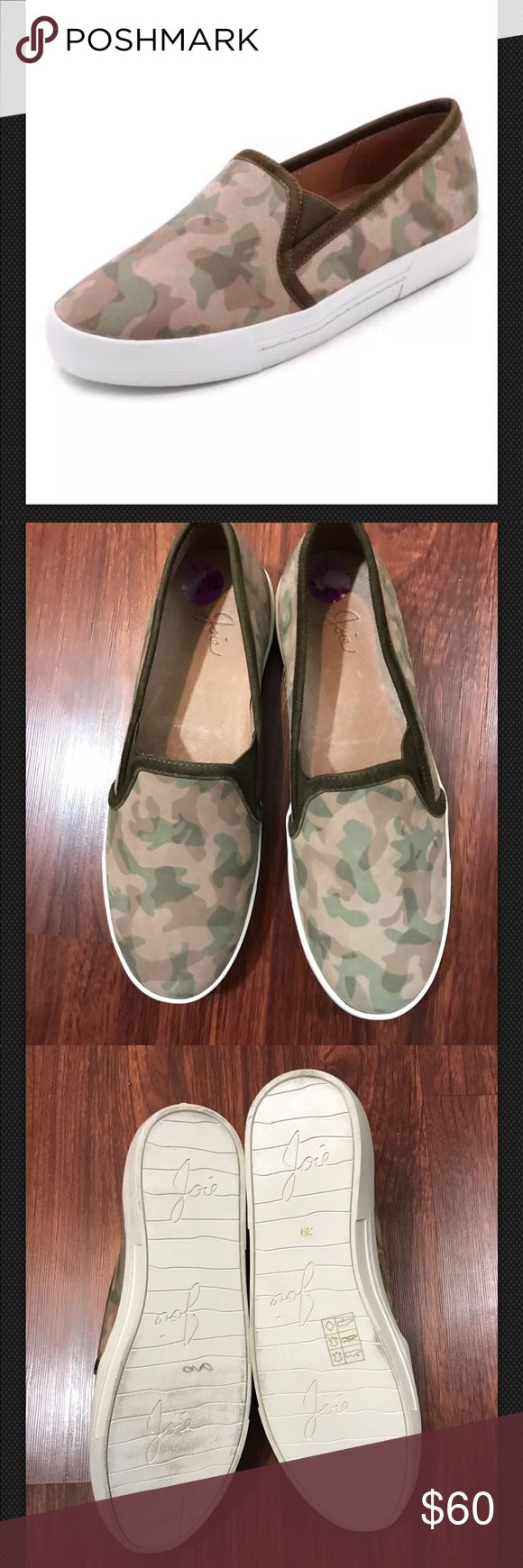 JOIE Huxley Slip On Sneakers Camo Tan Brown Green Shoe was a store display and does not come with dust bag or box Joie Shoes Athletic Shoes