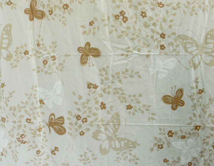 Vintage 70s Butterfly Twin Flat Fitted Bed Sheet Set Brown Beige Tan Cream Bedding Linens Fabric Baby's Breath by PaddywhackKnickKnack on Etsy