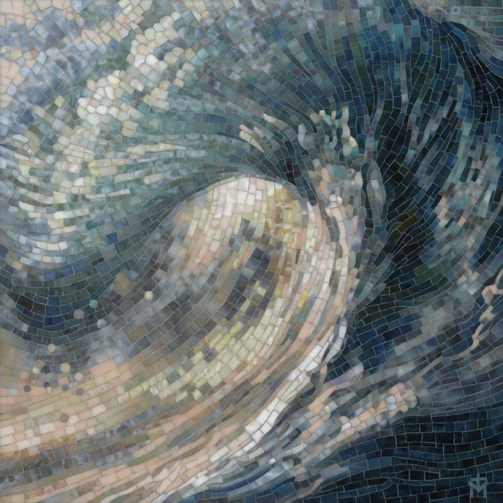 """Big Wave..Previous pinner: """"This is one of my newest stained glass mosaics…"""