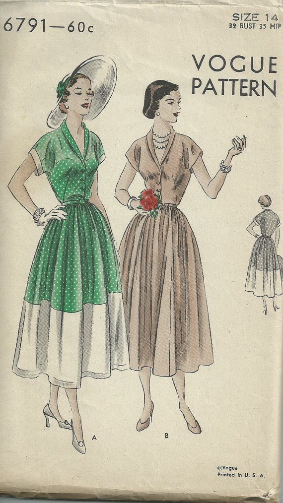 Vintage 1940s Vogue 6791 sewing pattern - 40s dress pattern Size 14 Bust 32